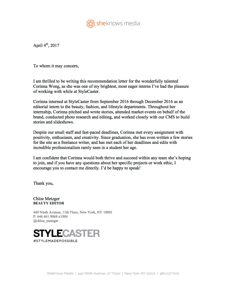 StyleCaster Letter of Rec